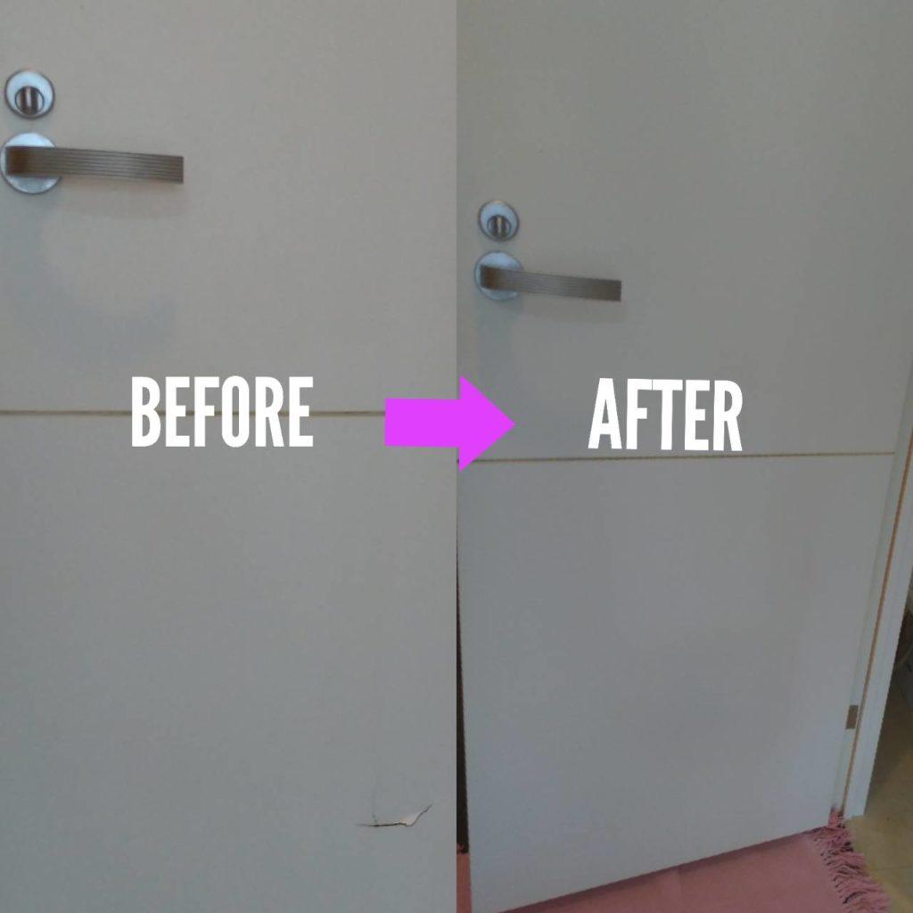 木製ドアパンチ穴補修