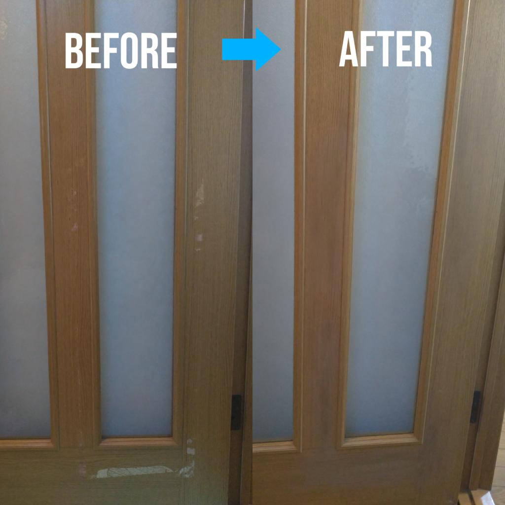 木製扉シート剥がれ補修